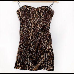 [Guess] Cheetah Animal Print Strapless Dress - 0